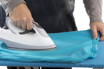 Close up Hand of a Man Ironing