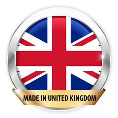 made in united kingdom silver badge isolated button