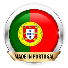 made in portugal silver badge isolated button