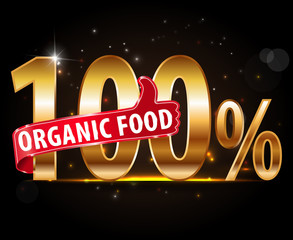 100% natural product, 100% organic typography with thumb up
