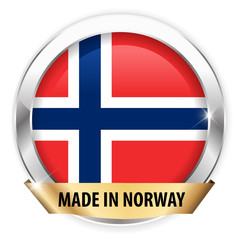 made in norway silver badge isolated button