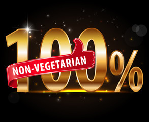100% non-vegetarian food silver label with red thumbs up