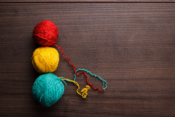 knitting balls of threads