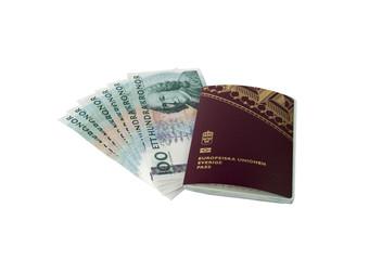 Swedish passport and money