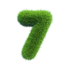 Number symbol of green fresh grass isolated on a white