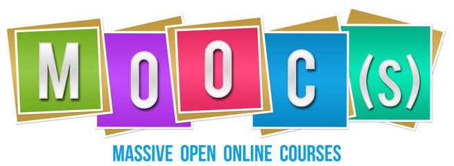 Moocs - Massive Open Online Courses Colorful Blocks