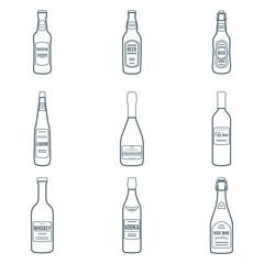 vector dark outline design alcohol bottles icons set on white