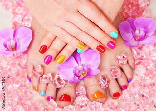 Tuinposter Pedicure Beautiful manicure and pedicure