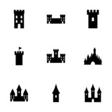 Vector castle icon set - 74478665