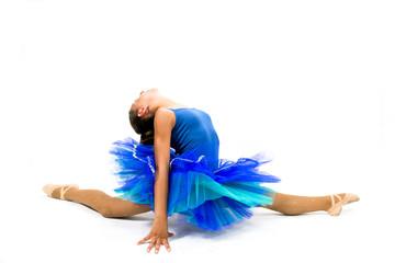Beautiful ballet dancer with blue dress posing dance