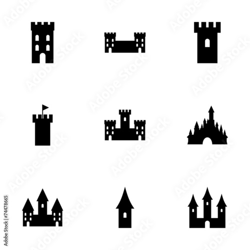 Vector castle icon set - 74478665
