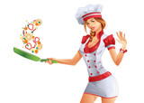 Cute woman cook