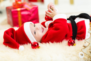 Cute Baby weared Christmas clothes