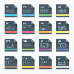 vector flat style dark grey square  file formats icons