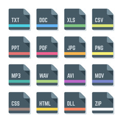 vector flat style rounded square file formats colored icons