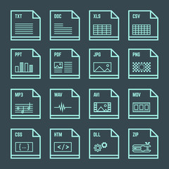 vector outline light blue green square file formats with symbols