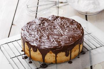 sponge cake covered in chocolate
