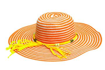Large of orange and yellow ladies hat isolated.