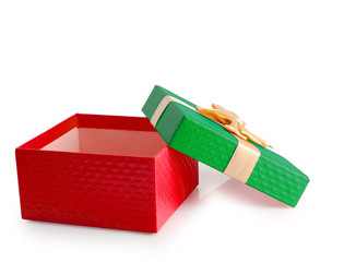 Red and green christmas gift box isolated clipping path.