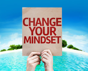 Change Your Mindset card with a beach