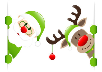 Green Santa & Rudolph Christmas Bauble Banner