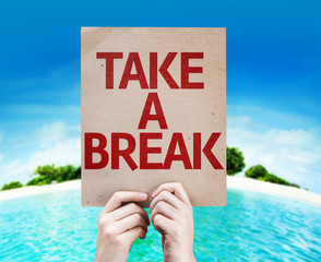 Take a Break card with a beach on background