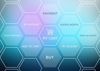 Abstract background with basket and shopping site menu.