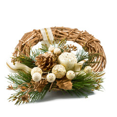 Golden Christmas wreath isolated on white background.