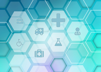 Abstract background with icons on the medical theme.