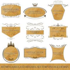 Set for vintage design, retro labels and frames