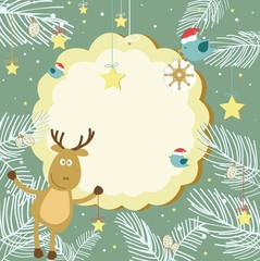 Christmas card with wild animals and birds