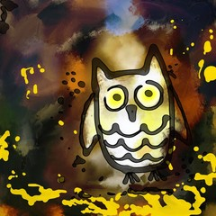 Grunge Owl Painting