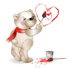 Happy Teddy Bear painting heart 2