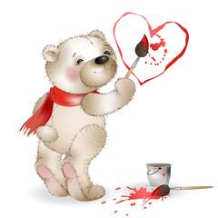 Happy Teddy Bear painting heart 2