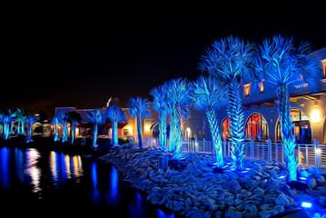 Palms under blue light