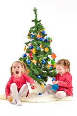 Children are enjoying the Christmas Tree