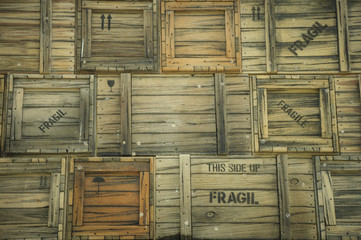 Shipping vintage crates background