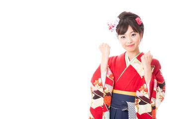 japanese woman wearing kimono cheering
