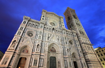 Florence cathedral by night, Italy