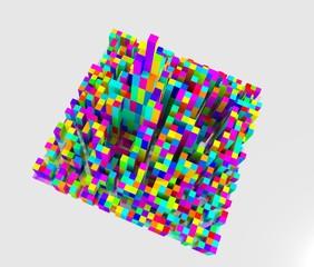 カラフルな立方体で出来た都市のイメージ