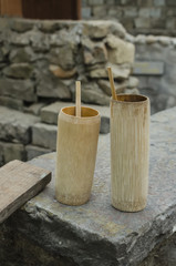 rice beer mug made of bamboo
