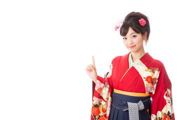 japanese woman wearing kimono showing