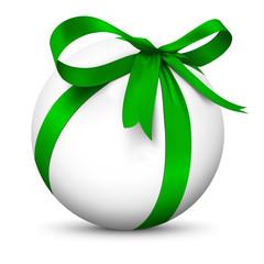 Kugel mit Schleife, Geschenk, eingepackt, weiße Kugel, Ball, 3D