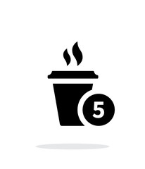 Coffe cup with number simple icon on white background.