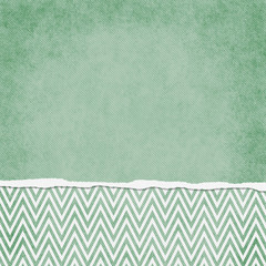 Square Green and White Zigzag Chevron Torn Grunge Textured Backg