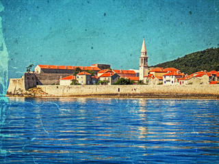 Old photo with the citadel of Budva