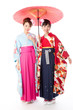 japanese women wearing kimono on white background