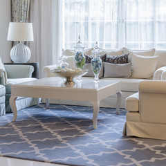 luxury living room with classic sofa and table