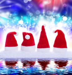 Weihnachtsmützen, Spiegelung, Hintergrund, blau