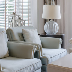 luxury chair in living room with lamp